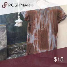 High low tye dye top High-low Orange & taupe tye dye short sleeve tee. UO BRAND: moon & sky Urban Outfitters Tops Tees - Short Sleeve