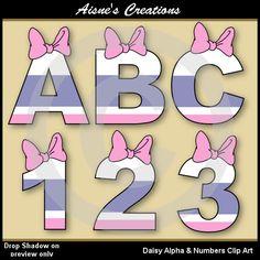Daisy Alphabet Letters & Numbers Clip Art by AisnesCreations