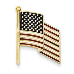 14k Yellow Gold Enameled Flag Pin Charm