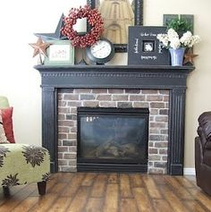 """Great fireplace redo with brick. I just love brick accents inside a house! Fake brick, or """"airstone"""" and white siding and mantle. Fireplace Redo, Faux Fireplace, Fireplace Remodel, Fireplace Ideas, Fireplace Makeovers, Country Fireplace, Brick Fireplaces, Farmhouse Fireplace, Fireplace Design"""
