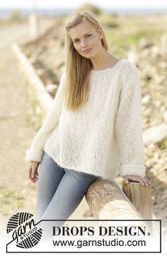 Randi jumper with textured pattern on yoke by DROPS Design Free Knitting Pattern
