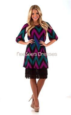 Plum and Dark Teal Chevron Dress | Trendy Modest Clothing | Lace Skirt Extenders