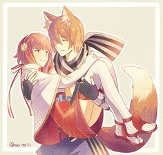 1boy 1girl animal_ears brown_hair carrying couple fire_emblem fire_emblem_if fox_ears fox_tail hallo-byby hetero kitsune nintendo nishiki_(fire_emblem_if) pink_hair princess_carry sakura_(fire_emblem_if) tail