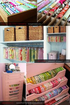 pink dresser with fabric storage Craft Room Decor, Craft Room Design, Craft Room Storage, Fabric Storage, Craft Rooms, Storage Ideas, New Crafts, Sewing Crafts, Cool Ideas