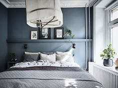 Inviting home with a blue bedroom Waterloo St Airy Bedroom, Bedroom Decor, Bedroom Ideas, Blue Bedroom Walls, Blue Walls, Wall Decor, Dark Blue Bedrooms, Home Interior, Interior Design