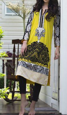Buy Yellow Embroidered Cotton Lawn Kurti by Firdous Carnival Kurti 2015.