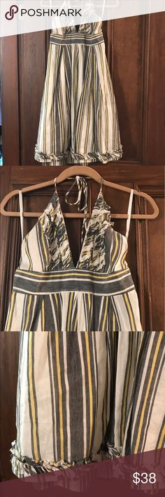 J.Crew Striped Dress Adjustable tie Halter dress. Lined with back zip J. Crew Dresses Midi