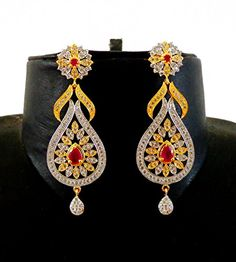 Indian Attire Women Indian Traditional CZ Dangle Earring - Designer Two tone Plated American Diamond Earring