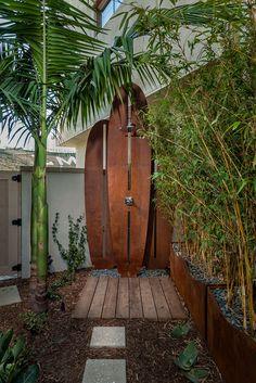outdoor shower, surfboard shower, pool shower, outdoor living, tropical