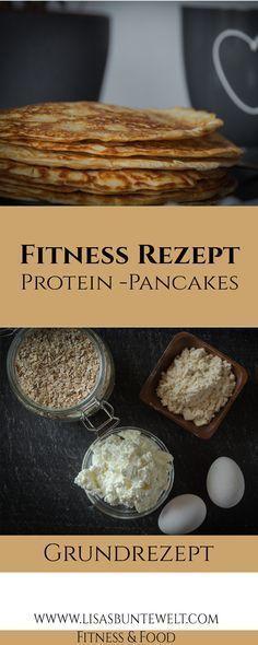 Protein-Pancakes. Tolle Nährwerte, einfache Zubereitung und gesunde Zutaten. Das perfekte Frühstück zum Abnehmen oder für Sportler. Auch ideal zum Mitnehmen geeignet.