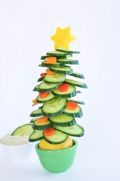 Edible Christmas tree a healthy fun Christmas snack and kid craft activity