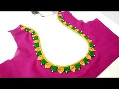 Easy pot neck blouse design for pongal blouse cutting and stitchingeasy pot neck design blouse cutting and stitching learn how to stitch pongal pot neck design blouse happy new year and pongal special design All Stitching Cl. This video will show you how Blouse Back Neck Designs, Chudidhar Neck Designs, Patch Work Blouse Designs, Simple Blouse Designs, Sleeve Designs, Wedding Saree Blouse Designs, Silk Saree Blouse Designs, Silk Sarees, Designer Blouse Patterns