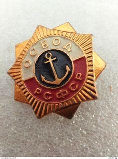 "RARE OSVOD RSFSR USSR  70""S LOGO  VINTAGE  BADGE PIN - Boats"