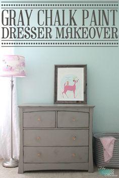 Gray Chalk Paint Dresser Makeover | TheTurquoiseHome.com