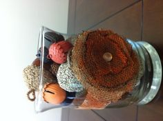 Fall table decoration _ like the burlap overlap flower (could also use newspaper, classified section)