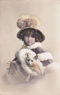 grete reinwald | Edwardian girl with a white kitty inside her fur muff | Kitty Love ...