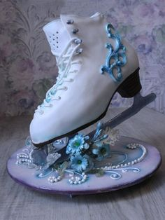 """This cake for charming women figure skating coach. She's a coach """"from God."""" Because I really wanted to make this cake, something that no one had."""