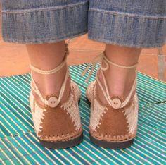 Spitze an häkeln Schuhe Beige w / Tan Farbe von lepiedleger