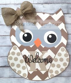 Personalized Chevron & Polkadot Owl Door Hanger Sign (Neutral Colors) by SparkledWhimsy on Etsy https://www.etsy.com/listing/240080427/personalized-chevron-polkadot-owl-door