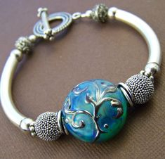 Kalinda Bangle Bracelet Lampwork Glass Bead by StoneStreetStudio, $158.00