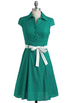 Hepcat Dress in Clover. Keep up with the fast tempo of trendsetting style, and swing into a look of pure, polished sophistication with this adorable, vintage-inspired A-line frock. #green #modcloth