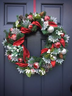Christmas Wreaths Red and White Wreaths Red by WreathsByRebeccaB