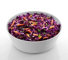 Red Cabbage Slaw: Red cabbage, julienned carrots and parsley tossed in our red wine vinaigrette.