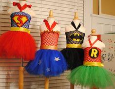Super Hero Inspired tutus - batman, wonder woman, robin, superman inspired - super cute :) www.shoppe3130.etsy.com
