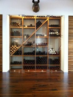 Contemporary Wine Cellar Design, Pictures, Remodel, Decor and Ideas - page 5 Under Stairs Wine Cellar, Wine Cellar Basement, Wood Wine Racks, Wine Rack Wall, Humble House, Wine Cellar Design, Wine Design, Wine Display, Wine Cabinets