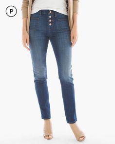 Chico's Women's Platinum Petite Button-Front Ankle Jeans, Honey Bee Indigo, Size: 2.5P (14P - L)