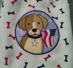 USA double kitchen towel with patch of dog by jostowelcrafts, $9.50
