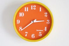 Vintage Mod Wall Clock Yellow/Orange Space Age Pop Verichron Kartell Panton on Etsy, Sold