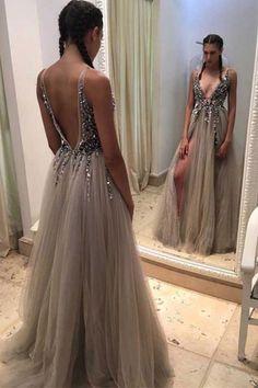 Backless Rhinestone prom dress, long tulle prom dresses, Sexy prom dresses, prom dress online, Long prom dress,