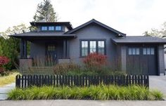 gray black shingle house picket fence curb appeal mill valley by Kelly Haegglund - Before After DIY Black House Exterior, Grey Exterior, House Paint Exterior, Exterior House Colors, Exterior Design, Cottage Exterior, Exterior Cladding, Dark Grey Houses, Dark House
