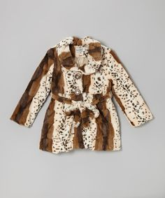 Another great find on #zulily! White & Brown Faux Fur Coat - Infant & Girls by Bijan Kids #zulilyfinds