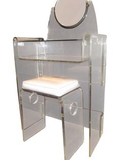 Image of Lucite Vanity Stool Mirror Hollywood Regency Vanity Stool, Vanity Tables, Lucite Furniture, Hollywood Regency, Console Table, Chair, Dressing Tables, Mirror Mirror, Vintage