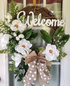 Magnolia Door Wreath, Rustic Welcome Gravevinr Wreath, Everyday Wreath for Front Door Summer Door Wreaths, Christmas Mesh Wreaths, Valentine Day Wreaths, Deco Mesh Wreaths, Easter Wreaths, Wreaths For Front Door, Holiday Wreaths, Floral Wreaths, Spring Wreaths