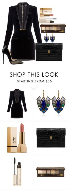 """Untitled #1187"" by fabianarveloc on Polyvore featuring Balmain, Nak Armstrong, Christian Louboutin, Alexander McQueen, By Terry, Bobbi Brown Cosmetics, women's clothing, women's fashion, women and female"