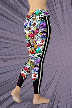 Dare to be you! The new Comic Graffiti Leggings are squat-proof, non see-through and super comfortable to wear. Handmade quality you can feel! Gym Leggings, Tight Leggings, Sport Outfits, Activewear, Hug, Looks Great, Graffiti, How To Make, How To Wear