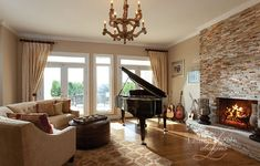 The beauty of this family room starts with a love of music, and ends with a beautiful and cozy space for family and friends