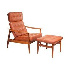 Loving this mid-century, danish style chair and ottoman, designed by Arne Vodder and manufactured by France and Son in Denmark. So comfy and pretty!