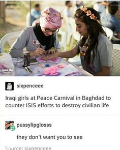 Iraqi girls at a Peace carnival to counter ISIS's attempt to ruin civilian life