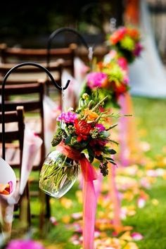 Spring wedding flowers chair decor, Spring wedding glasses decor ideas with ribbon www.loveitsomuch.com