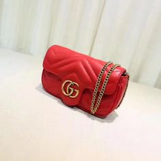 Replica GUCCI GG Marmont matelasse leather super mini bag red ID:31678