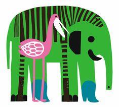 Karkuteillä, Marimekko. Designed by Maija Louekari. Elephant and next comes Ff for FriendFlamingo...