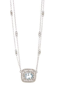 Aquamarine & White Diamond Cushion Pendant Necklace by Savvy Cie on @HauteLook