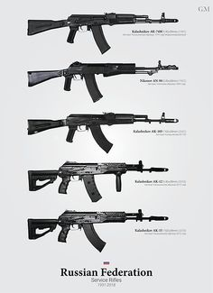 Check out some related posters here! The major service rifles of the Russian Federation. Rifles that are intended to be . Guns And Ammo, Weapons Guns, Airsoft, Rifles, Weapon Concept Art, Fire Powers, Russian Federation, Assault Rifle, Military Weapons