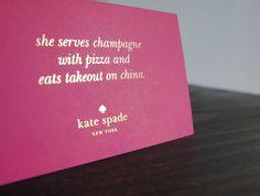 """She serves champagne..."""
