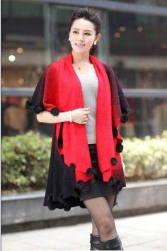 Fashion Batwing Sleeve Cashmere Shawl Cape Elegant Cloak