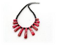 Gemstone Necklace Rose Sea Jasper and Agate by CraftsbySigita